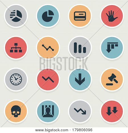 Vector Illustration Set Of Simple Situation Icons. Elements Line Chart, Bar Graph, Descending And Other Synonyms Hammer, Penitentiary And Clock.