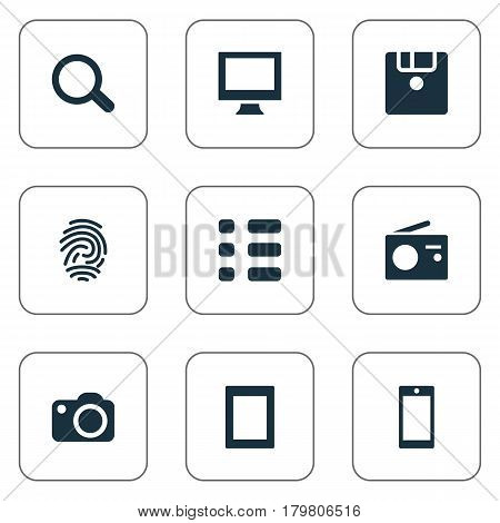 Vector Illustration Set Of Simple Device Icons. Elements Save, Tuner, Fingerprint And Other Synonyms Device, Photo And Save.