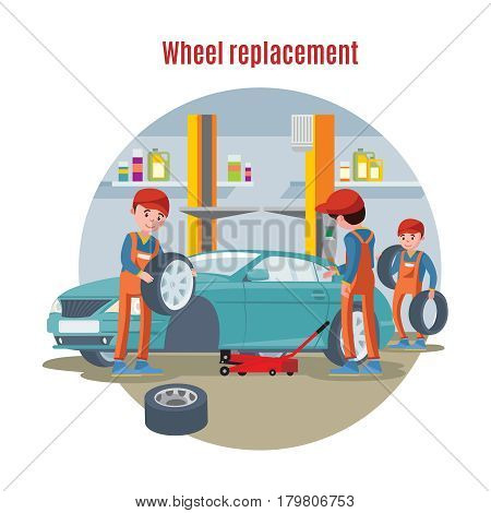 Colorful tire service concept with workers replacing wheels of car in workshop vector illustration
