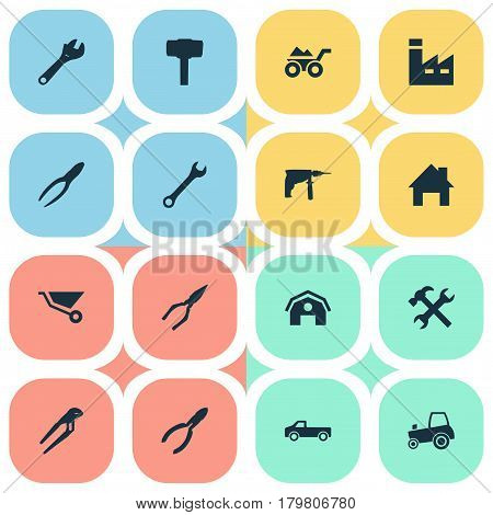 Vector Illustration Set Of Simple Wrench Icons. Elements Transportation, Carpentry Equipment, Loaded Trolley And Other Synonyms Tool, Factory And Mechanical.