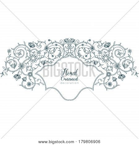 Vector illustration of a vintage floral ornament, frame. Ideal for invitations to a wedding, anniversary, greeting cards.