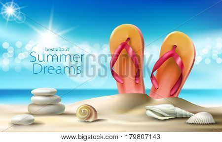 Vector illustration of a summer sandy beach with seashells, pebbles and beach slippers against the turquoise sky and the sea. An excellent advertising poster for a travel agency
