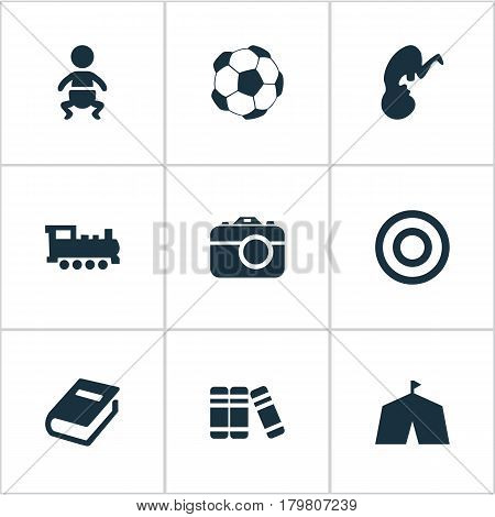 Vector Illustration Set Of Simple Baby Icons. Elements Camera, Train, Bookshop And Other Synonyms Sport, Fetus And Encyclopedia.