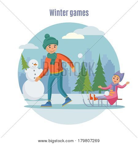 Colorful father playing with children concept of dad sledding his daughter on winter landscape vector illustration