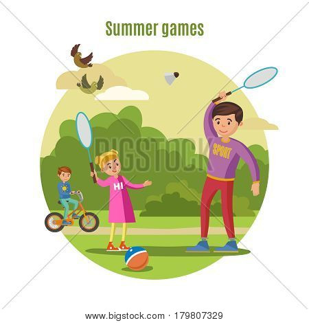 Summer active leisure concept with father playing badminton with daughter and boy riding bicycle vector illustration