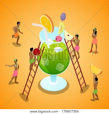 Miniature People Making Summer Cocktail with Fruits. Isometric vector flat 3d illustration