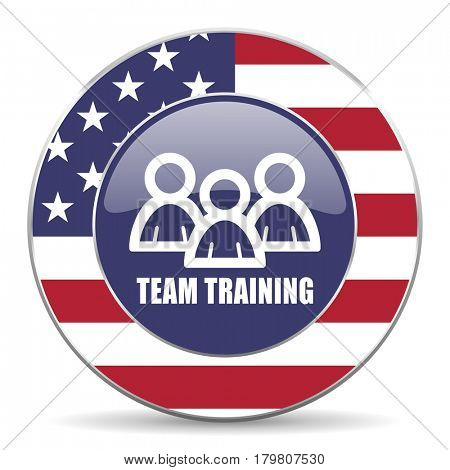 Team training usa design web american round internet icon with shadow on white background.