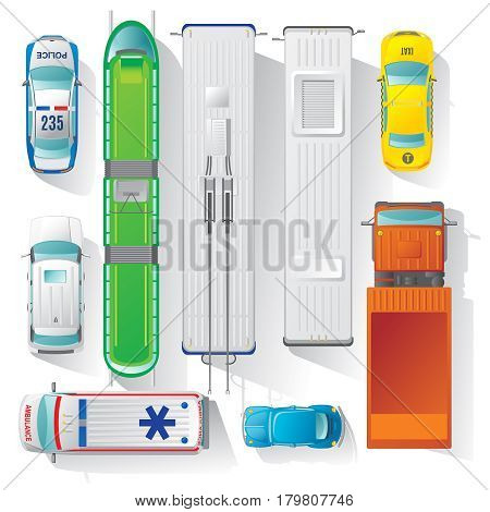 Top view city transport elements set with tram trolleybus bus truck ambulance taxi police cars isolated vector illustration
