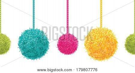 Vector Colorful Decorative Pompoms Big and Small Set With Ropes Horizontal Seamless Repeat Border Pattern. Great for handmade cards, invitations, wallpaper, packaging, nursery designs. Surface pattern design.