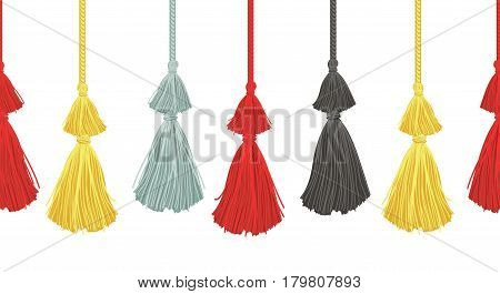 Vector Hanging Decorative Tassels Set With Ropes Horizontal Seamless Repeat Border Pattern. Great for handmade cards, invitations, wallpaper, packaging, nursery designs. Surface pattern design.