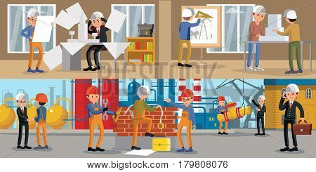 Building people horizontal banners with engineers architects and workers in different situations at office and on construction site vector illustration