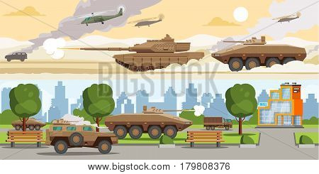 Military equipment horizontal banners with ground battle machines and air force in desert and city vector illustration