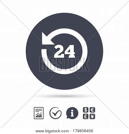 24 hours customer service. Round the clock support symbol. Report document, information and check tick icons. Currency exchange. Vector