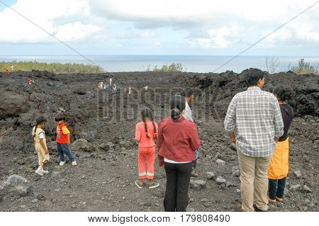 Lava Flow Of La Reunion Island On Indian Ocean, France