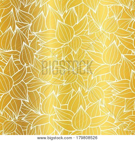 Vector gold and white succulent plant texture drawing seamless pattern background. Great for subtle, botanical, modern backgrounds, fabric, scrapbooking, packaging, invitations. Repeat pattern design.