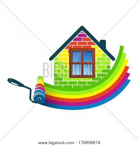 Paint roller house design for business vector