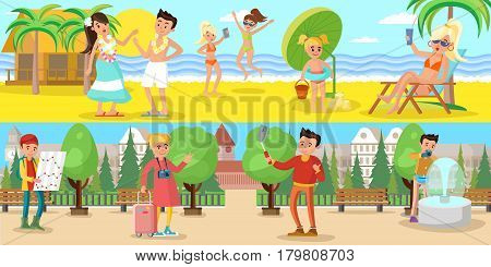 Summer vacation horizontal banners with people relaxing on beach near sea and sightseeing tourism vector illustration