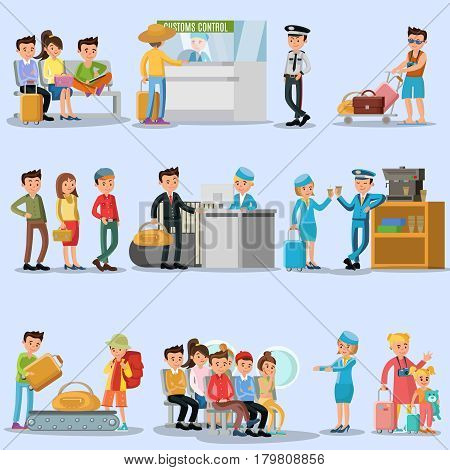 People in airport set with tourists passengers and staff in different situations isolated vector illustration