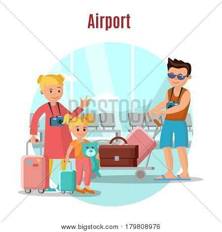 People in airport concept with happy family in departure lounge before boarding on flight vector illustration