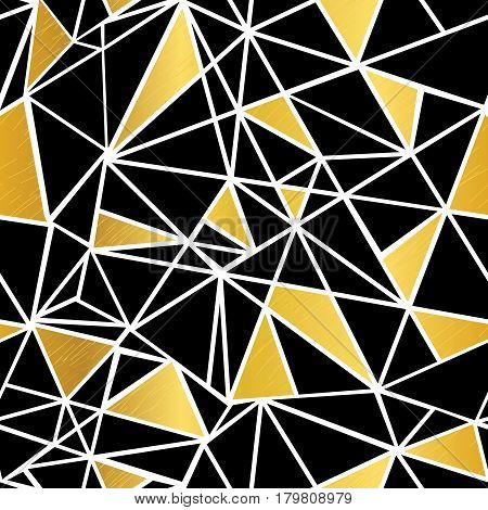 Vector Black, White, and Gold Foil Geometric Mosaic Triangles Repeat Seamless Pattern Background. Can Be Used For Fabric, Wallpaper, Stationery, Packaging. Surface pattern design.
