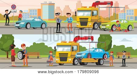 Car evacuation horizontal banners with fine for parking in forbidden place and tow truck evacuating automobile vector illustration
