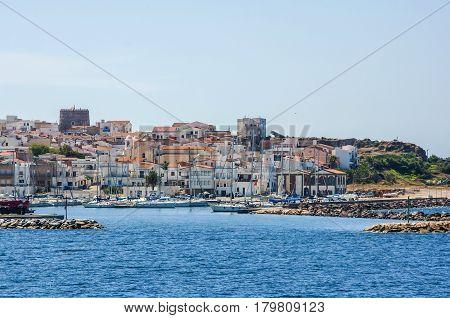 view of a beautiful port in Arbatax harbor village Sardinia italy sardegna