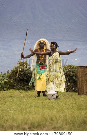 Male And Female Dancers In Rwanda Native Dance Troop, Virunga, Africa