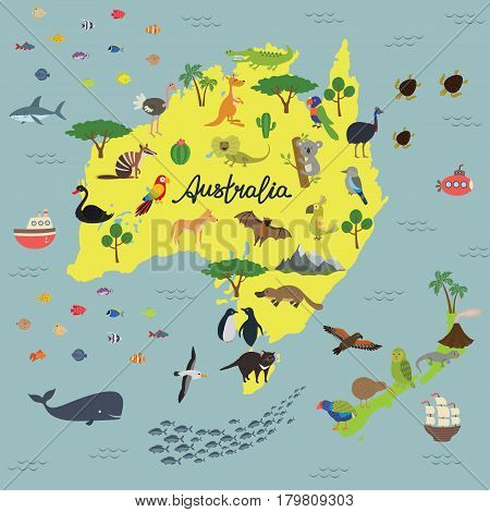 Australia vector map. drawn map of Australian continent with lettering. animals of Australia and new Zealand