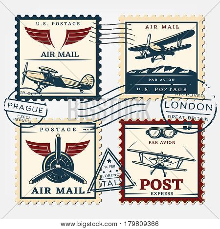 Colorful aircraft postage square stamps set with airplanes and round postmarks in retro style isolated vector illustration
