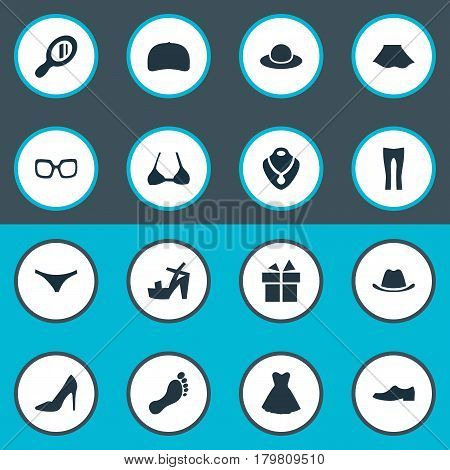 Vector Illustration Set Of Simple Dress Icons. Elements Eyeglasses, Lingerie, Cap And Other Synonyms Wear, Male And Cap.
