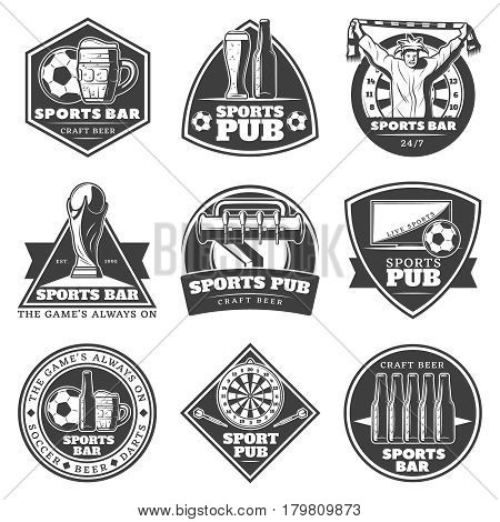 Monochrome vintage sport bar labels set with fan beer bottles glasses games and equipment isolated vector illustration