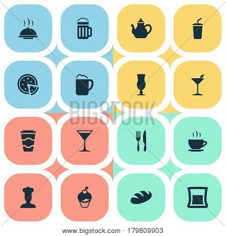 Vector Illustration Set Of Simple Beverage Icons. Elements Espresso, Muffin, Kettle And Other Synonyms Glass, Kettle And Beverage.