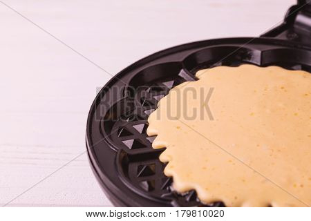 Homemade Raw Heart Shaped Waffles In Iron Waffle Pan