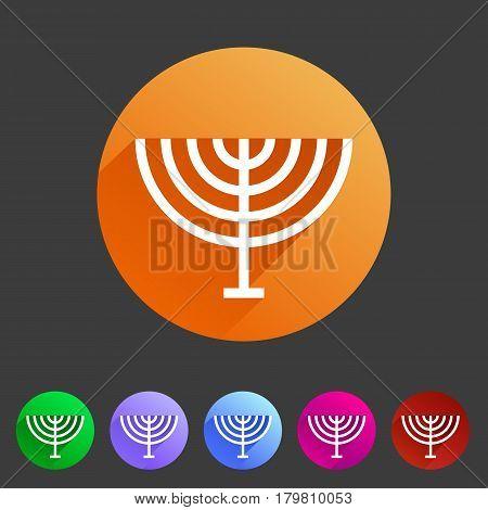 Menorah hanukkah icon flat web sign symbol logo label set