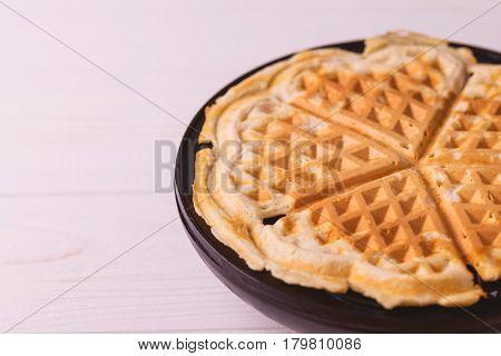 Homemade Heart Shaped Waffles In Iron Waffle Pan