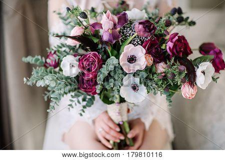 Wedding bouquet. Bride's flowers. Soft light. Beautiful flowers