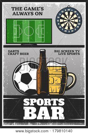 Colorful vintage sport bar poster with footbal field ball darts glass bottle and mug of beer vector illustration