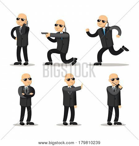 Cartoon Professional Safeguard Man. Security Guard. Vector character illustration