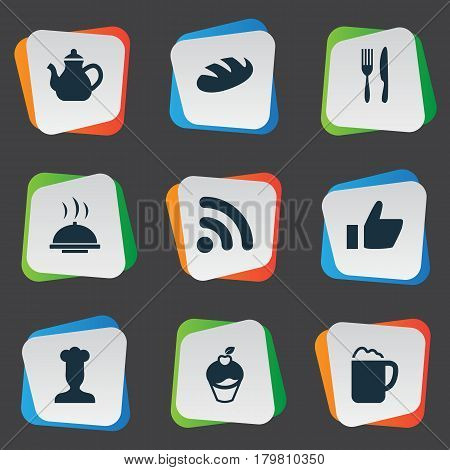 Vector Illustration Set Of Simple Beverage Icons. Elements Food Tray, Kettle, Wireless Connection And Other Synonyms Utensil, Dessert And Gastronomy.