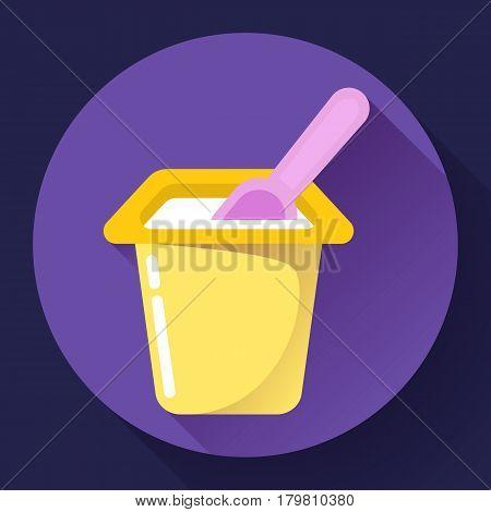 colored yogurt cup with a spoon flat yogurt icon Vector Illustration