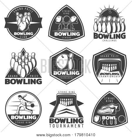 Monochrome bowling labels set with player sneakers and sport equipment in vintage style isolated vector illustration