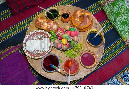 Ancient custom coloring Easter eggs and preparation of ritual breads.