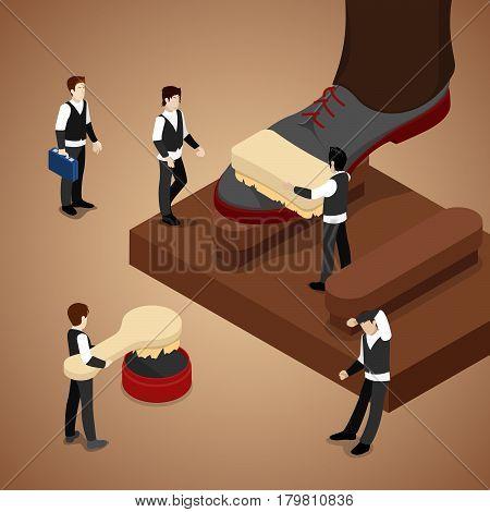 Miniature People Polishing Shoe. Isometric vector flat 3d illustration