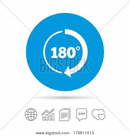 Angle 180 degrees sign icon. Geometry math symbol. Copy files, chat speech bubble and chart web icons. Vector