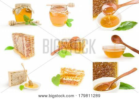 Group of Sweet honey isolated on a white background cutout