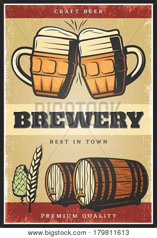 Colorful vintage brewing poster with clinking mugs of craft beer wooden barrels wheat herbal hops vector illustration