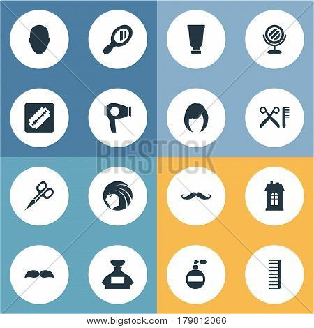 Vector Illustration Set Of Simple Barber Icons. Elements Cut Tool, Bottle, Peeper And Other Synonyms Reflector, Perfume And Scent.