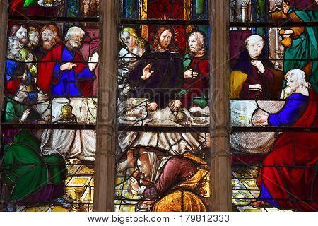 Triel sur Seine France - december 28 2016 : the last supper window in the Saint Martin church