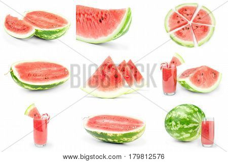 Set of Water melon over a white background