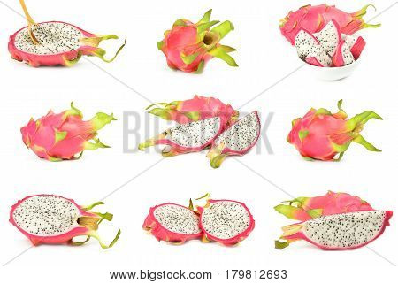 Group of pitaya isolated on a white cutout
